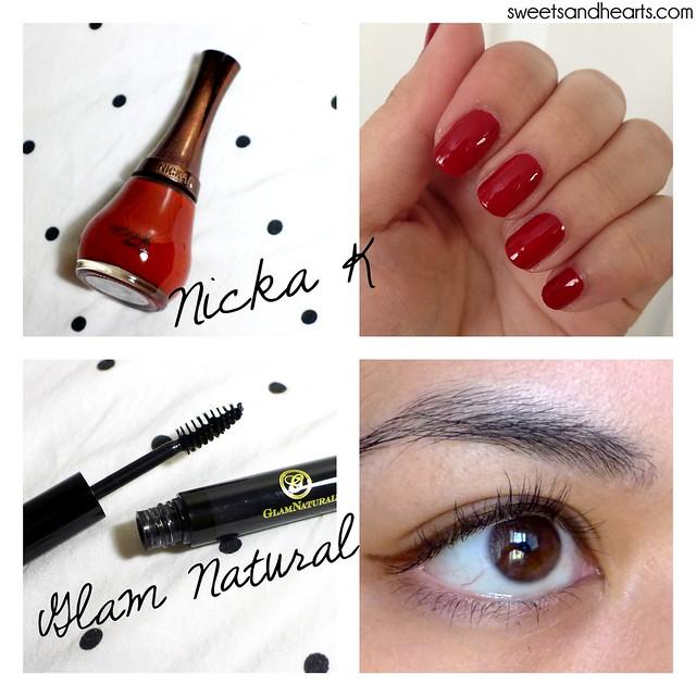 Beauty Box 5: Nicka K nail color in red and Glam Natural mascara swatches