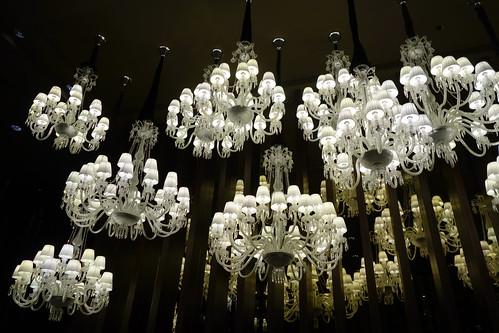 Opulent chandeliers at Shisen Hanten, Mandarin Orchard