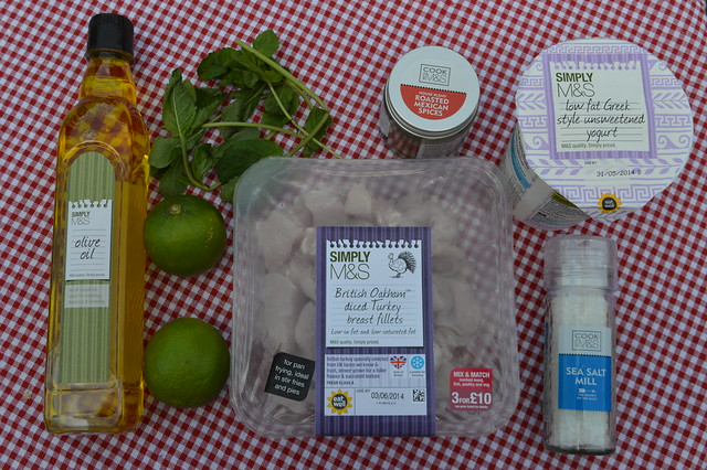 photo of ingredients to make turkey skewers m&s