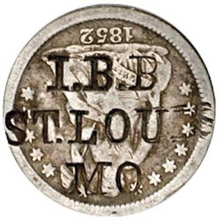I.B.B. ST. LOUIS MO on 1852 Half Dime