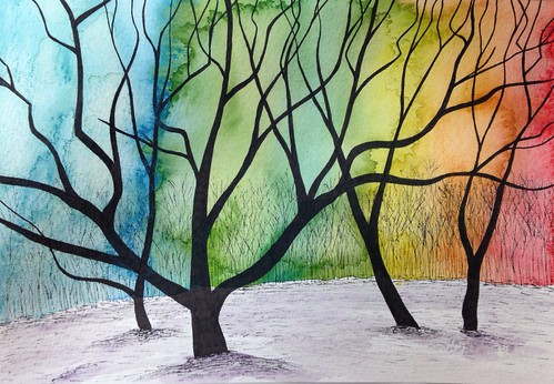 Spring Mist - original ink and watercolour painting - 10x7 inches £40 unframed £60 framed