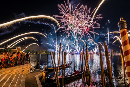 world italy color night reflections orlando epcot italian nikon colorful long exposure angle florida fireworks earth illuminations center disney gondola pavilion explosions pyro walt showcase ultrawide gondolas pyrotechnics uwa d610