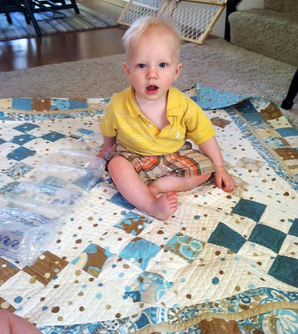 Silas on Quilt Smaller