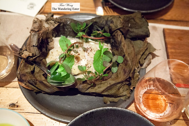 Brandade with lardo in lotus leaf paired with Le Loup Blanc, Petit Chaperone Rosé, Val de Cesse 2013