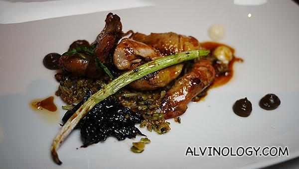 Tea smoked quail, almond cream, prunes, grains, grilled shallot, sorrel - $31++
