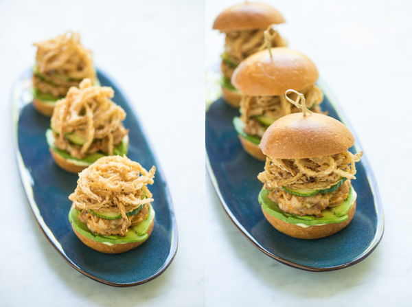 Spicy Ahi Tuna Sliders with Crispy Maui Onion Strings www.pineappleandcoconut.com #BurgerWeek