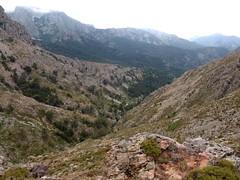 Piton rocheux 1358m : le versant bien clair de montée au-dessous vers le refuge