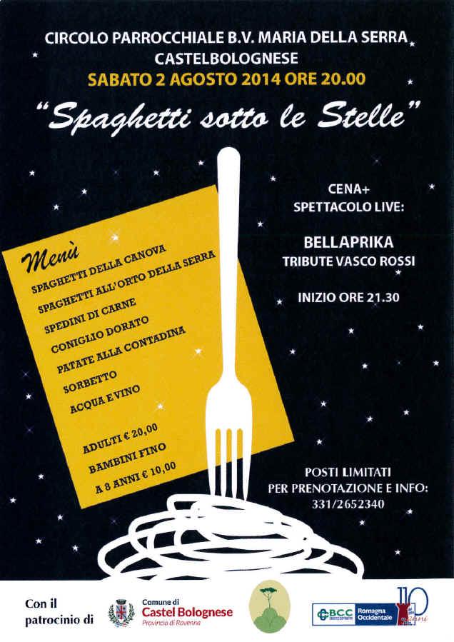 Spaghetti sotto le stelle, sabato 2 agosto al circolo della Serra