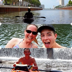 Fun day #paddling in the #kayaks .....good day to keep cool when the weather is so #hot . #Ontario #owensound #sydenham #river #french #friend