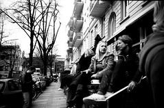 People drinking coffee at an ice-cream cafe, Winterhude, Hamburg