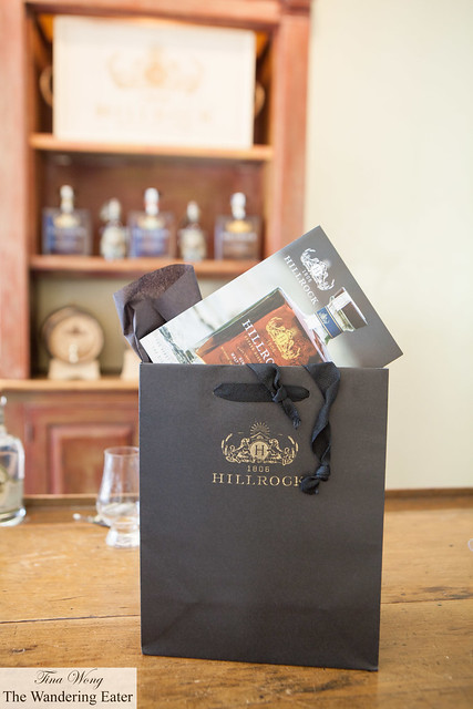My gift bag of Hillrock Distillery Single Malt Whiskey at the Tasting Room