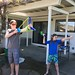 Nick with his water balloon bow and Sequoia with his water balloon atlatl