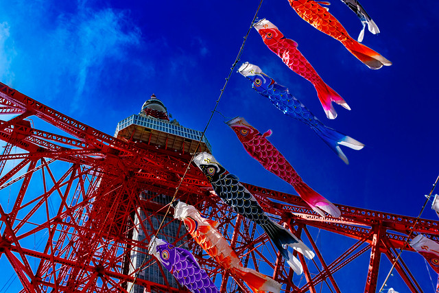 Tokyo Tower and Carp Streamers : 東京タワーと鯉のぼり