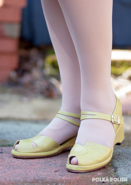 Remix Picasso wedges in avocado, a  chartreuse yellow-green shade