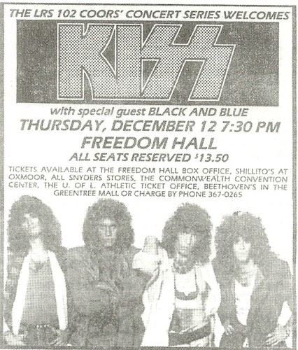 12/12/85 Kiss/ Black 'N' Blue @ Freedom Hall, Louisville, KY