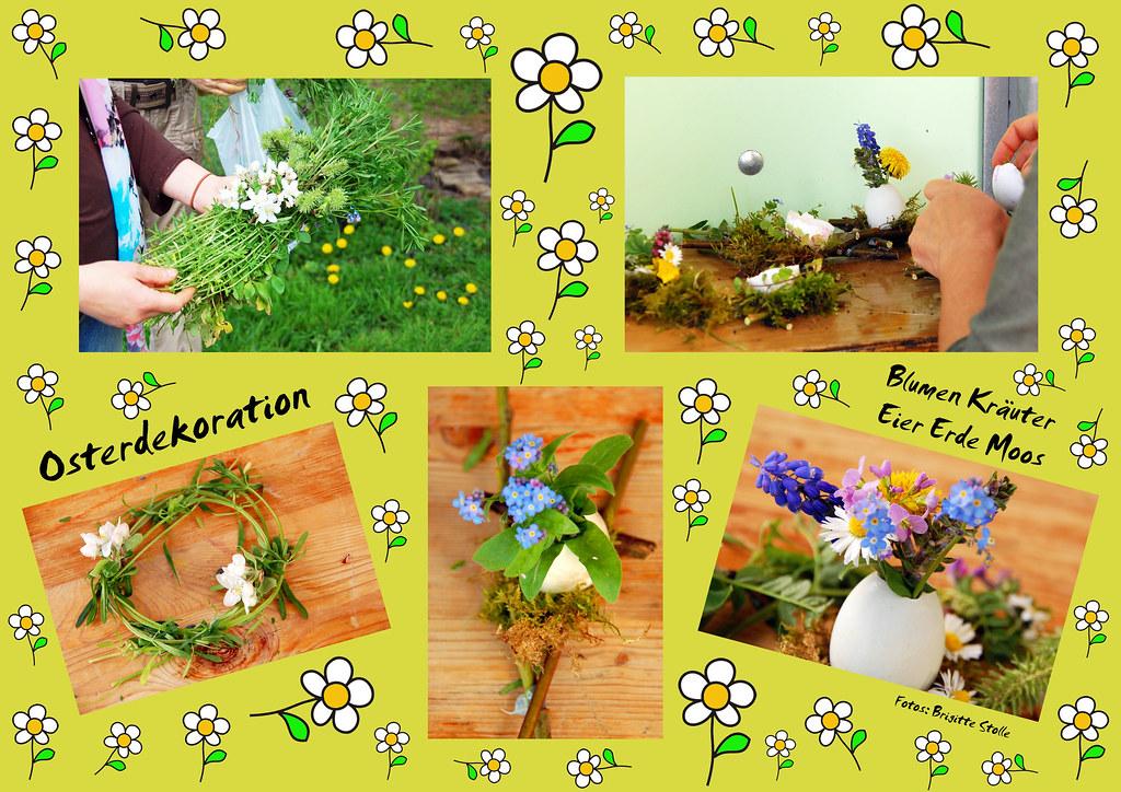 Ideen für die Osterdekoration Deko Ostern Frühling Eier Erde Moos Blumen Kräuter