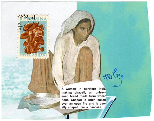 collage featuring Indian woman making chapati, mushroom stamp, baby blue background