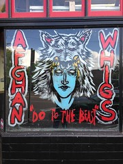 "Afghan Whigs ""Do The Beast"" window painting at Music Millennium"