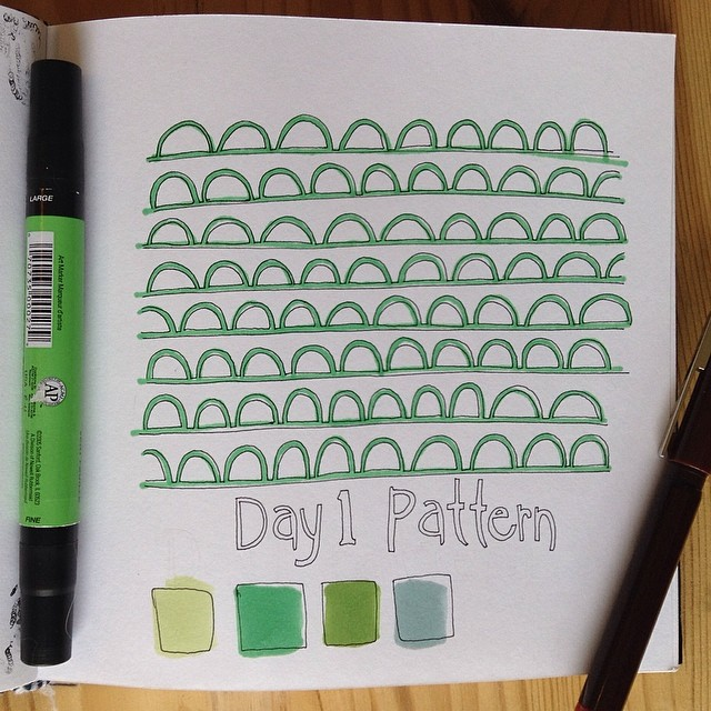 Playing late catch up #Day1 of the #15daydrawingchallenge from @witandwhistle #pattern