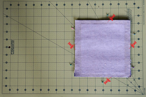 Step 9: Place Interfacing Rectangle from Step 7 on Top of Pocket Pile and Pin