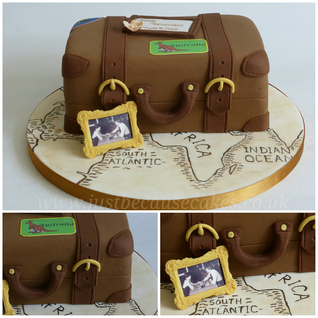 Just because cakess most recent flickr photos picssr suitcase cake for travel themed anniversary cake with hand painted map gumiabroncs Gallery
