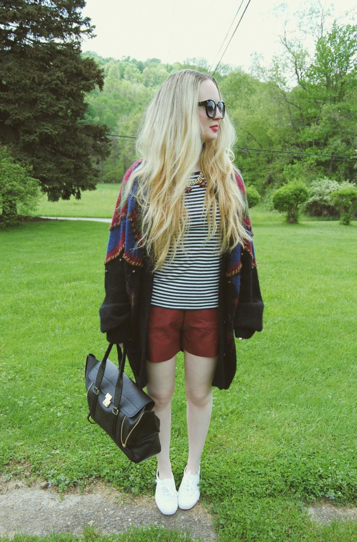 OxBloodLeatherShorts_KedsShoes_PhillipLimPashli_StripeShirt_VintageSweater