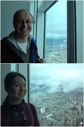 Mei and Dan check out the view in Taipei 101