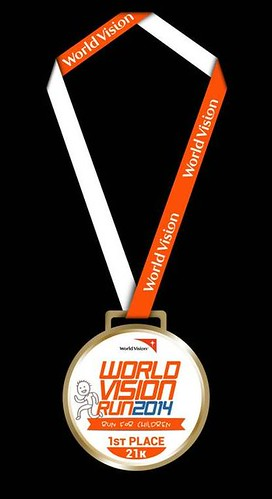 World Vision Run 2014 male winner medal