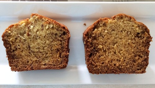 granulated sugar and brown sugar banana bread