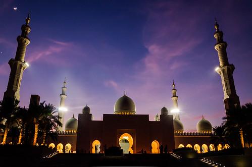 sunset sky lights uae mosque abudhabi grandmosque pwpartlycloudy nightbsankaranarayancolorsd7000nikonsankaranarayansbpsbphotography