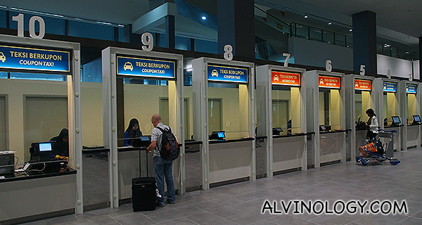 These are the taxi counters to get your taxi at KLIA2