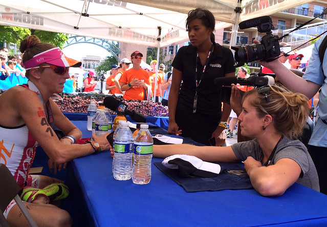 Interviewing Kelly Williamson at Ironman Texas.
