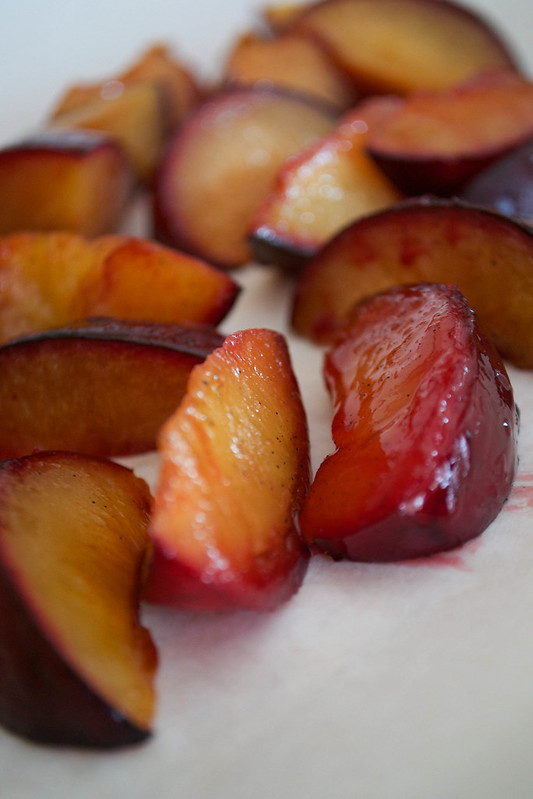 boozy amaretto and vanilla roasted plums