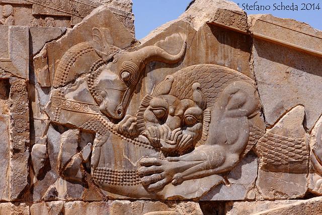 Bas-relief of lion and bull combat, Palace of Darius - Persepolis, Iran