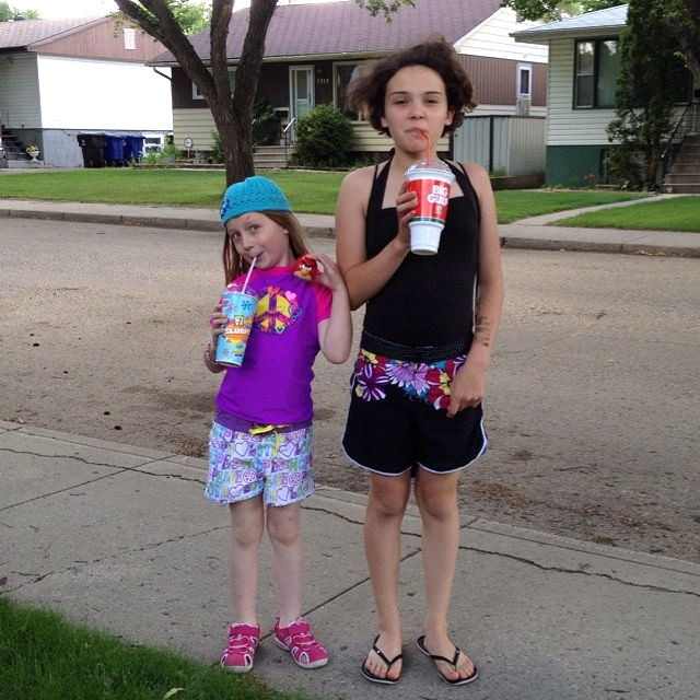 Perks of having an older child: I can send these two to the splash park (and 7-Eleven) ALL BY THEMSELVES.