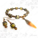 Dragon vein agate and tiger eye gemstone bracelet & earrings set- tigrisszem és sárkányachát karkötő & fülbevaló szett