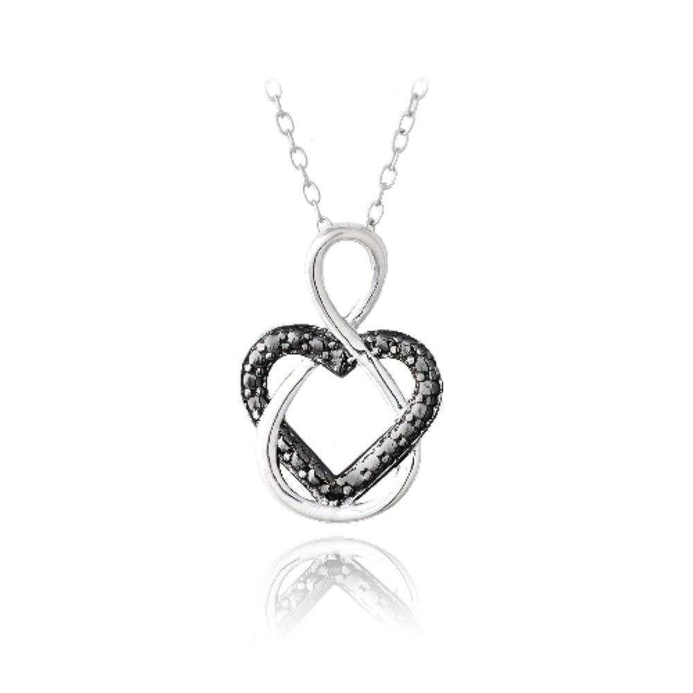 925 silver black diamond accent infinity open heart. Black Bedroom Furniture Sets. Home Design Ideas