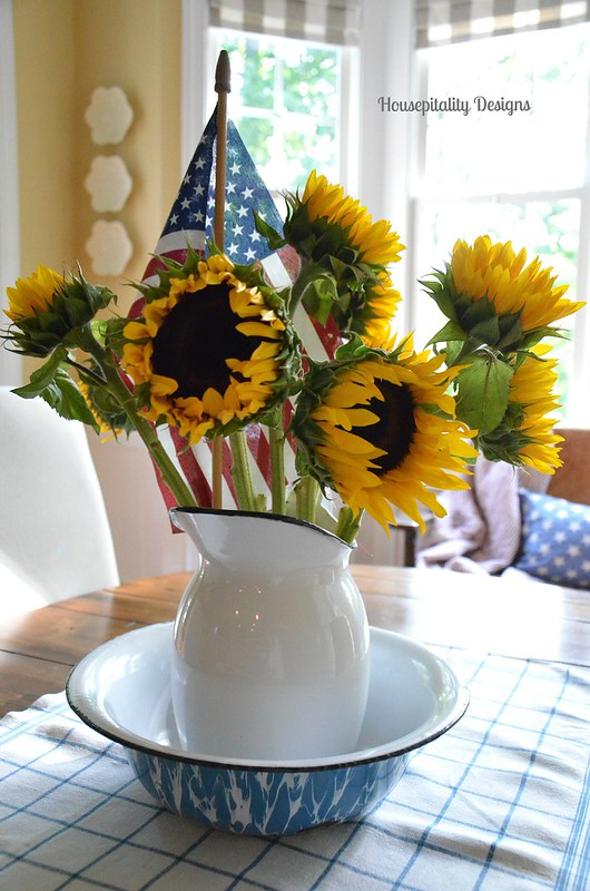 Sunflowers/Vintage Enamelware Bowl and Pitcher