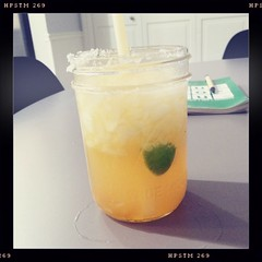 """margarita"" with fresh peach juice and peach jam #fredericksburg #peaches"