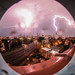 6/30/2014 Chicago Storm - Fisheye Tunnel Vision Chicago skyline with lightning by cshimala