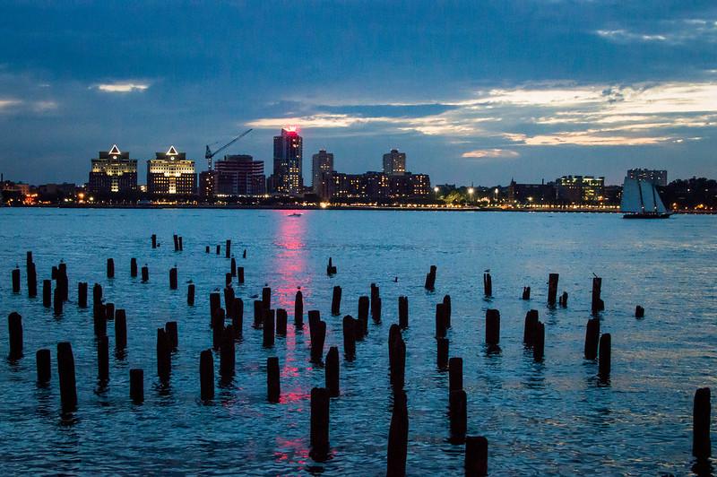 Chelsea Pier Hudson River Sunset in New York City