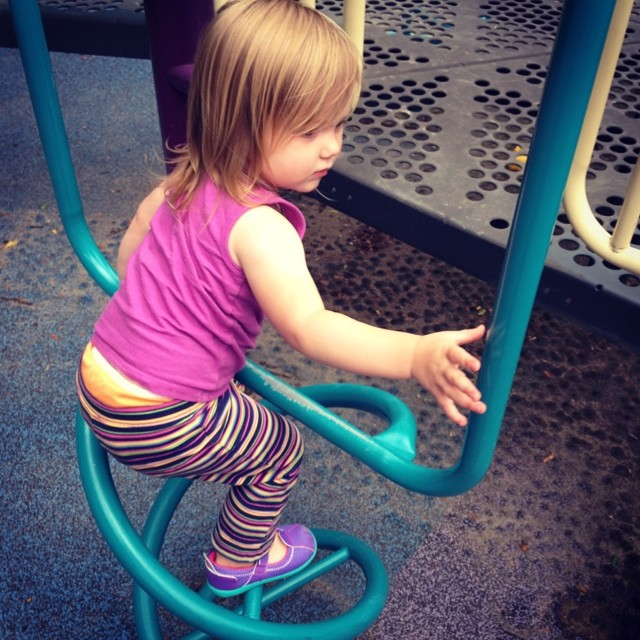 """Keep trying and never give up!"" (She says as she teaches herself to climb new things at the playground)"