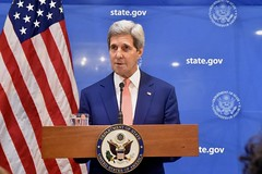 U.S. Secretary of State John Kerry announces a United Nations-backed 72-hour ceasefire in fighting between Israel and Hamas in the Gaza Strip during an early morning news conference in New Delhi, India, on August 1, 2014. [State Department photo/ Public Domain]