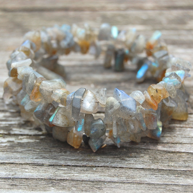 Gemstone spiral bracelets - Labradorite