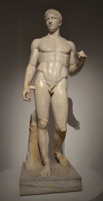 A well-preserved Roman period copy of the Doryphoros of Polykleitos cast circa 440 BC, from the time of Tiberius (14-37 AD), found in Pompeii, Moi, Auguste, Empereur de Rome exhibition, Grand Palais, Paris
