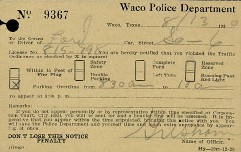 Waco parking ticket, 1930
