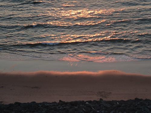 Sun set light on surf