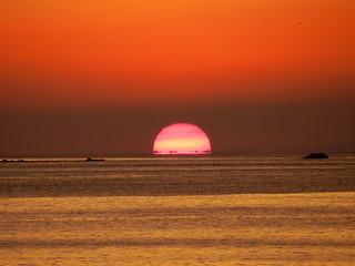 大田子海岸からの夕日
