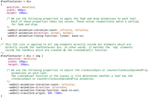 """""""落叶""""效果的部分CSS代码(点击放大)"""