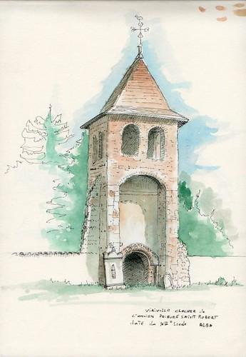 Viriville - Clocher de l'ancien prieuré roman saint Robert daté du XIIième siècle